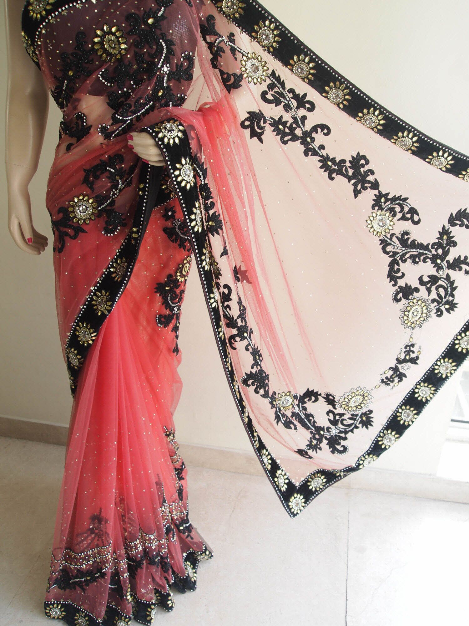 b8ec04bf6bedf Gajari Net Saree With Velvet Border   Extensive Embroidery