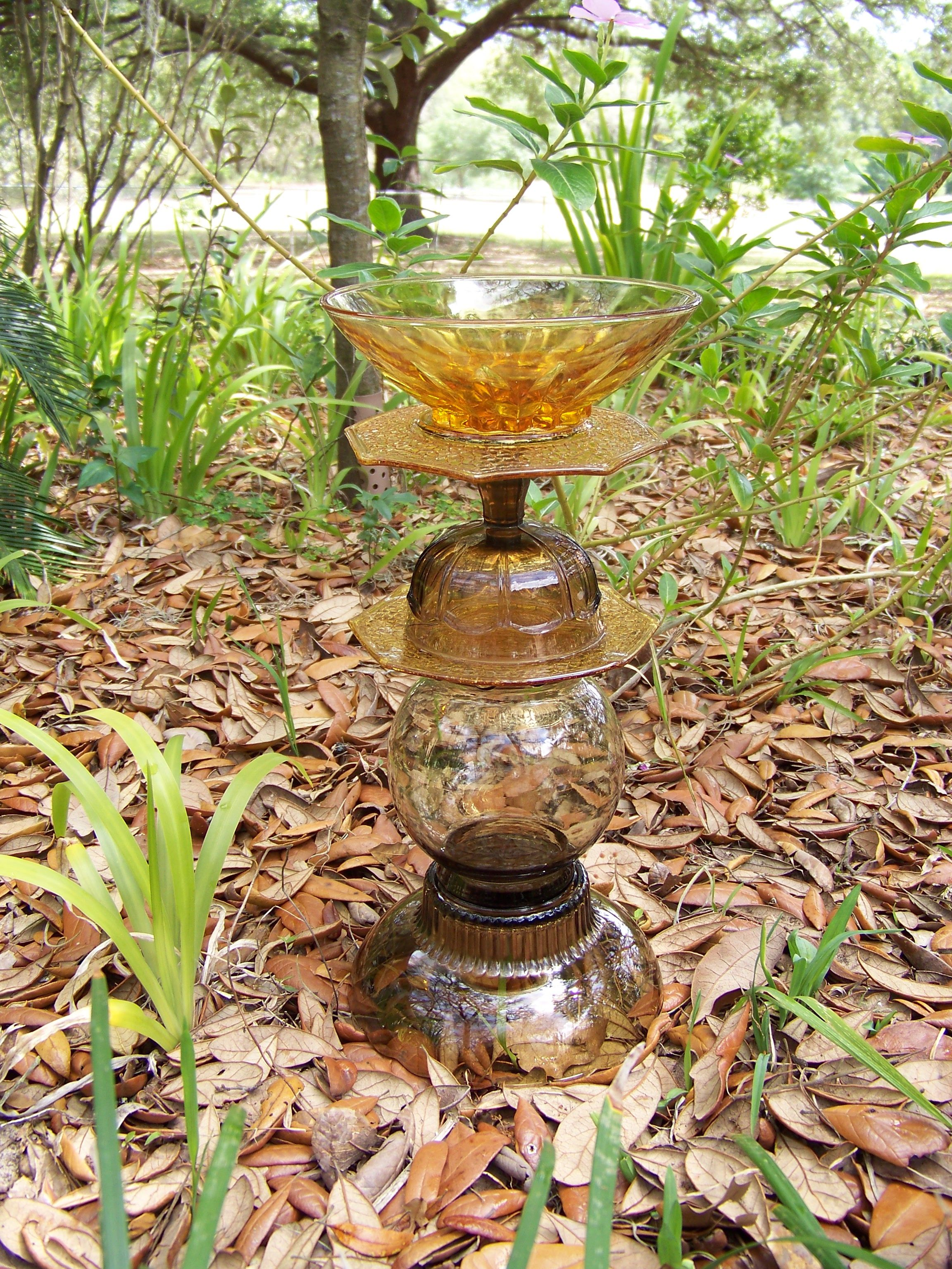 amber and smoke glass birdbath-SOLD | Pampurrd\'s DIY bird bath ...