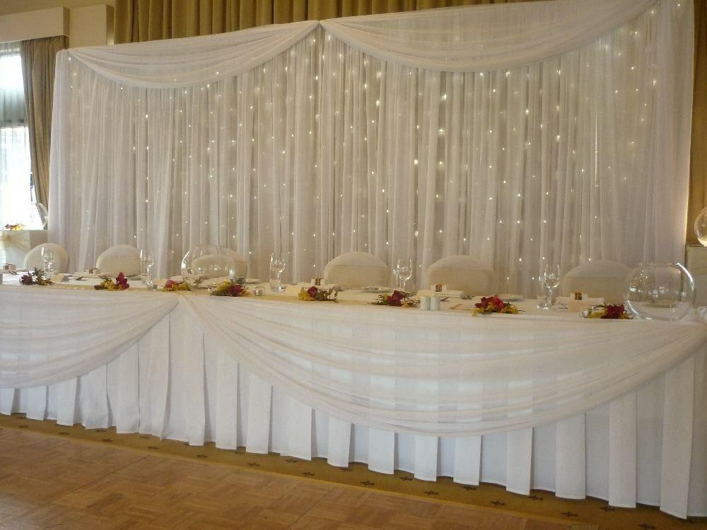 Pipe & Drape backdrop for Wedding head table | Wedding decorations ...