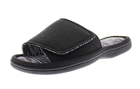 2eef97e5a992ed Gold Toe Women s Astra Adjustable Velcro Strap Open Toe Slide Memory Foam Flip  Flop Slipper House Shoes Black L 9 US