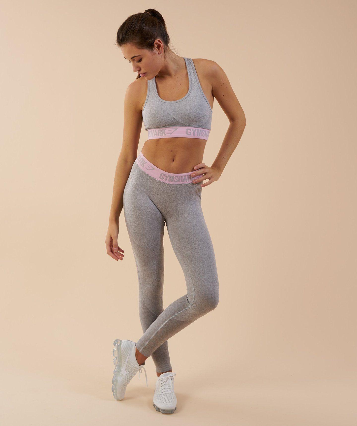 570c29a2ce483 Gymshark Flex Leggings - Light Grey Marl Chalk Pink 4