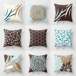 Blue And Brown Pillows Pillow Cover Cushions Throw White Sofa Decorative Designer