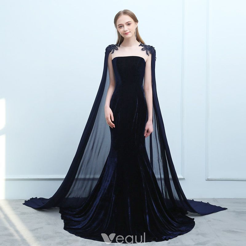 71766c32ac8a6 Modern / Fashion Navy Blue Evening Dresses 2019 Trumpet / Mermaid Suede  Beading Sequins Scoop Neck Sleeveless Watteau Train Formal Dresses