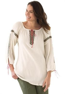 gauze peasant shirt with pretty embroidery | plus size new