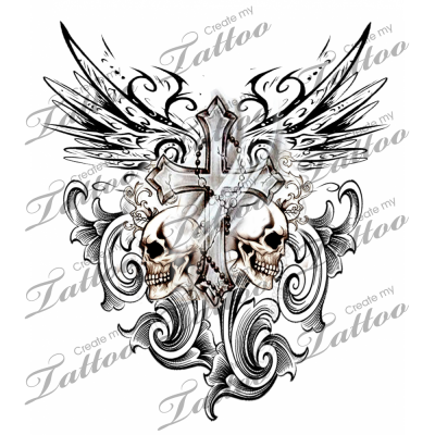276908e9b Marketplace Tattoo Gothic Cross with Tribal Wings and Skulls #3203 |  CreateMyTattoo.com