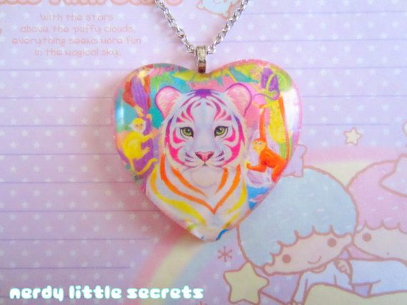 Lisa Frank Rainbow Tiger Necklace by NerdyLittleSecrets on Etsy, $14.00
