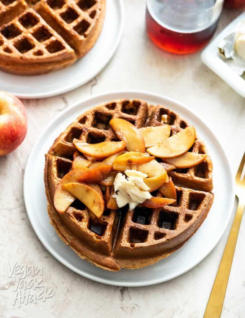 Chai Waffles with Cinnamon Apple Topping Vegan Yack