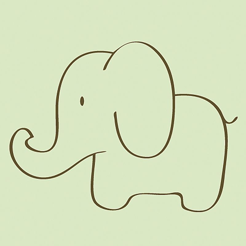 A sweet elephant in the nursery is the perfect way to welcome home baby art - Dessin elephant ...