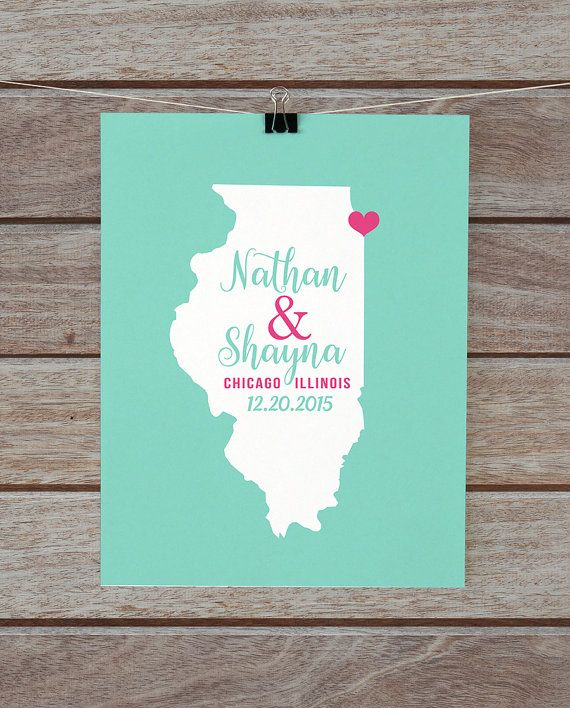 Chicago Illinois Map Personalized Wedding Gift Housewarming Newlyweds His And Hers
