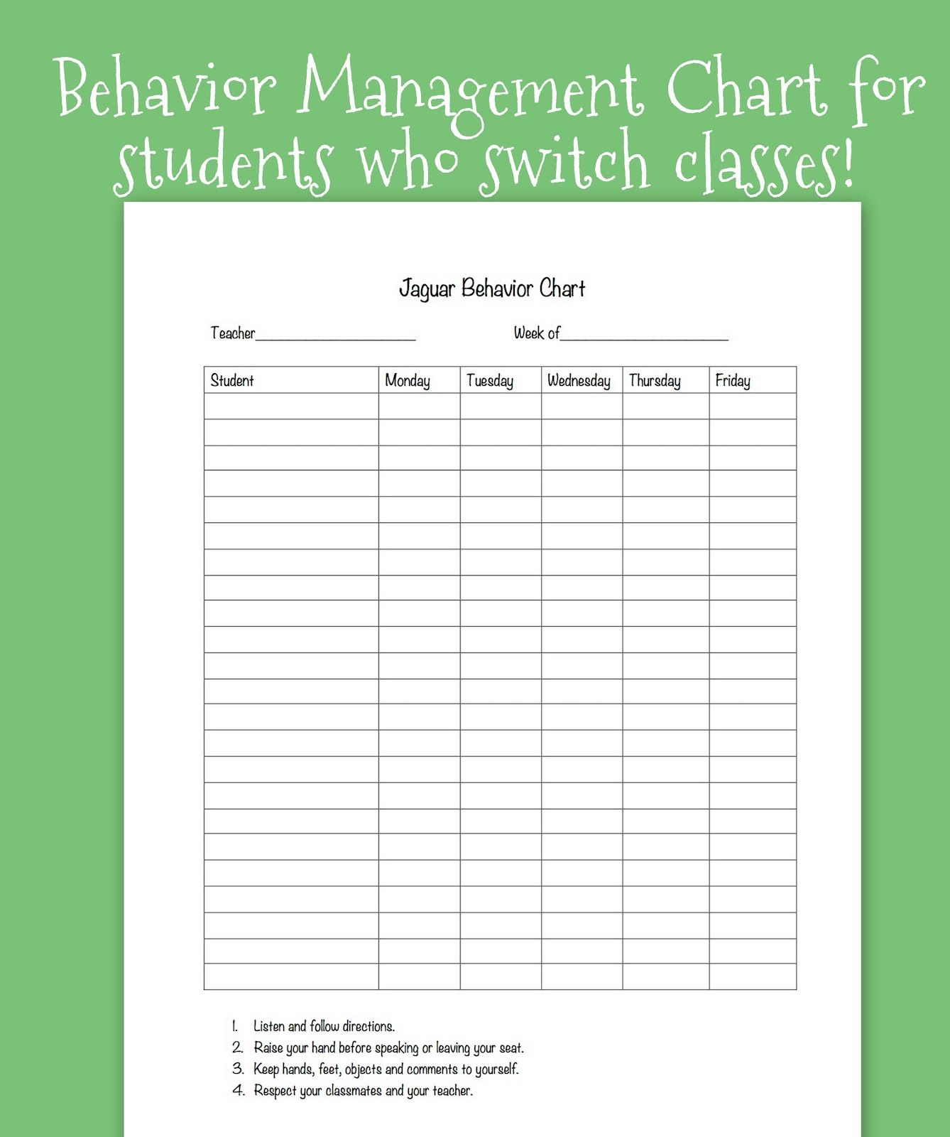 This Is A Great Template To Be Used By Teachers To Adapt And Modify It To Each Individual Stude Behavior System School Behavior Chart Classroom Behavior System