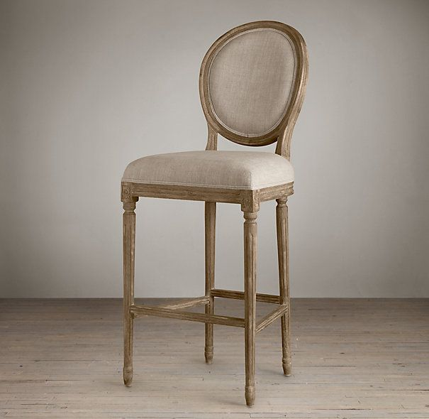 Vintage French Round Upholstered Barstool Bar Counter Stools