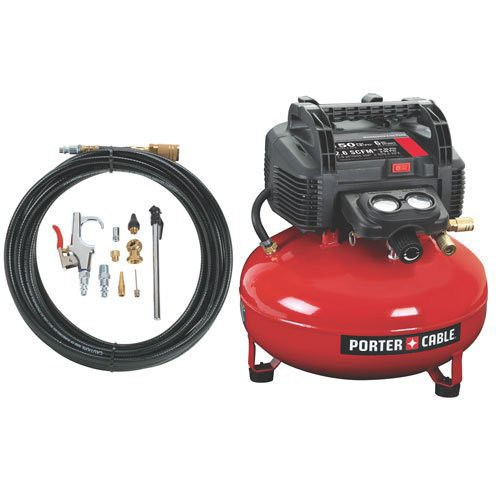 Porter Cable C2002 Wk 0 8 Hp 6 Gallon Oil Free Pancake Air Compressor With 13 Piece Hose And Accessory Kit Porter Cable Air Compressor Best Portable Air Compressor Porter Cable