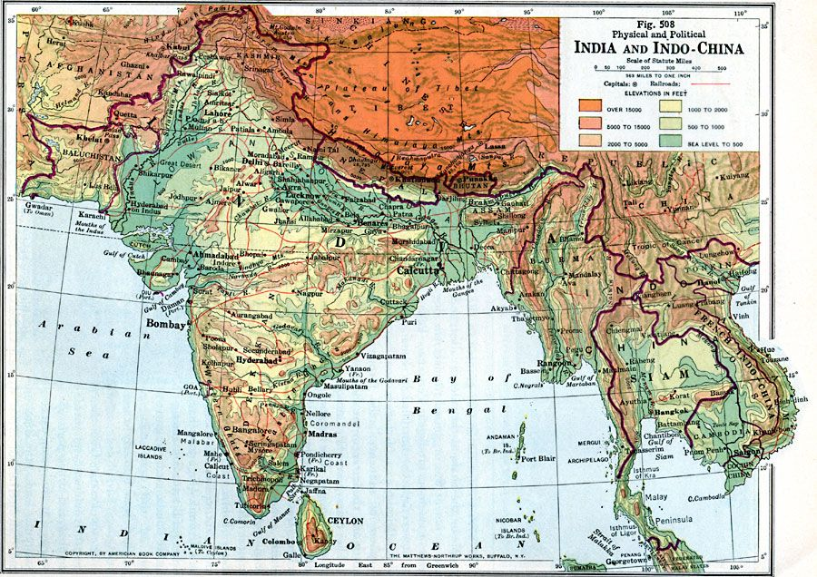Map of India and Indou2013China 1916 Map
