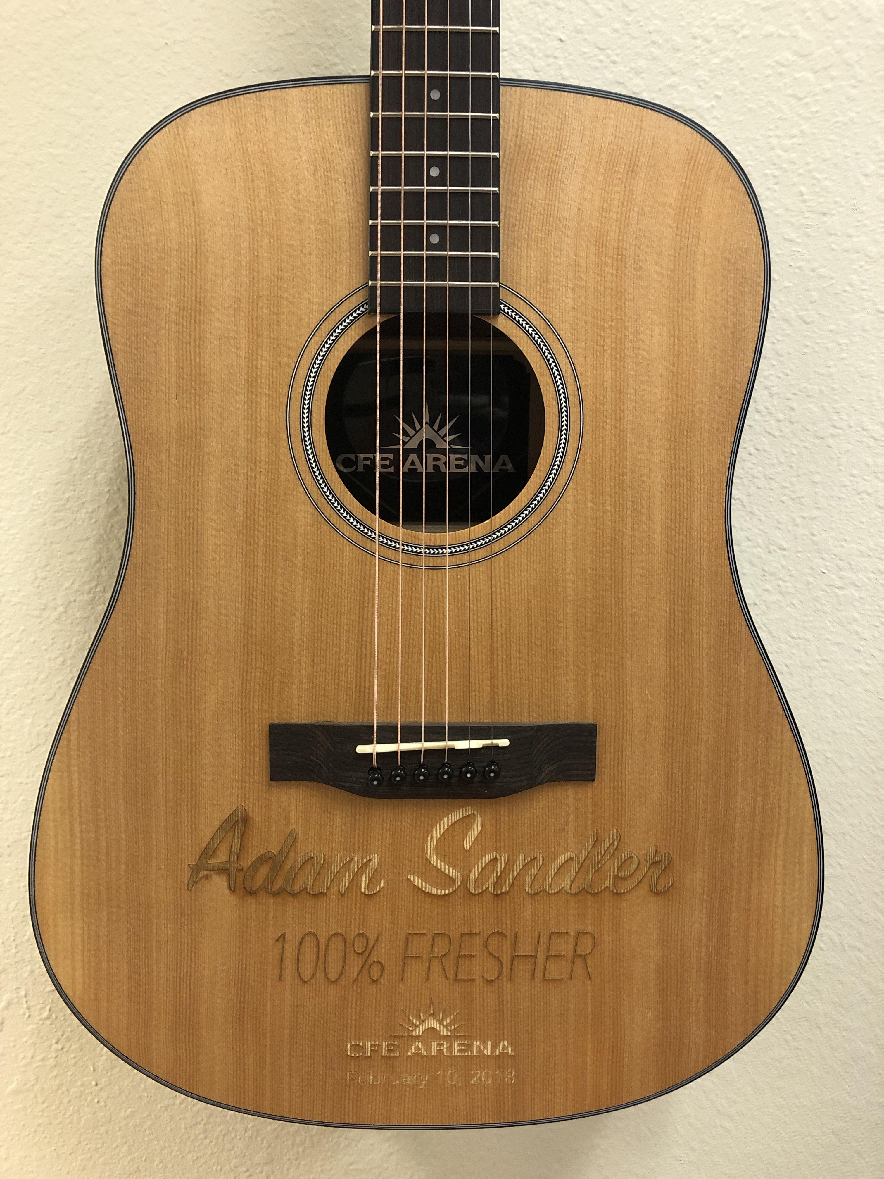 Custom Branded Engraved Acoustic Guitar For Adam Sandler By Brand O Guitar Company Guitar Acoustic Guitar Esp Guitars