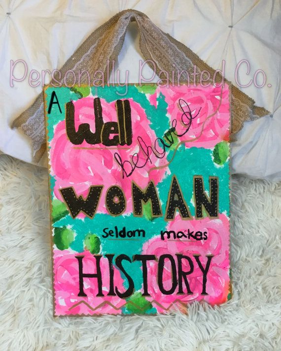Lilly Pulitzer Inspired Canvas With Quote // Lilly Pulitzer Inspired Monogram - Created after the Sweet Briar College school closing.