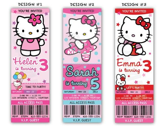 Hello Kitty Birthday Party Ticket Invitations by artyPARTYshop - party ticket invitations