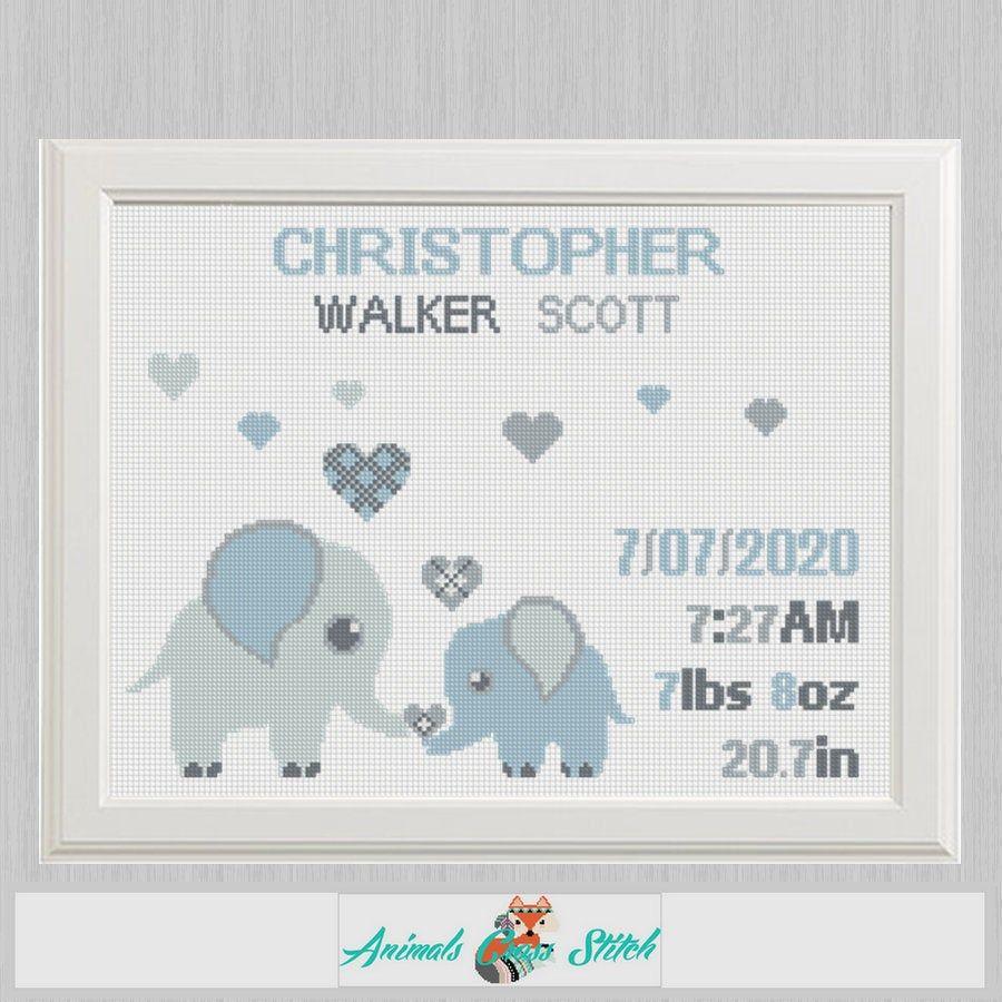 Birth announcement baby animal sampler Cross stitch elephants with hearts cross stitch pattern  new baby boy birthday gift nursery decor