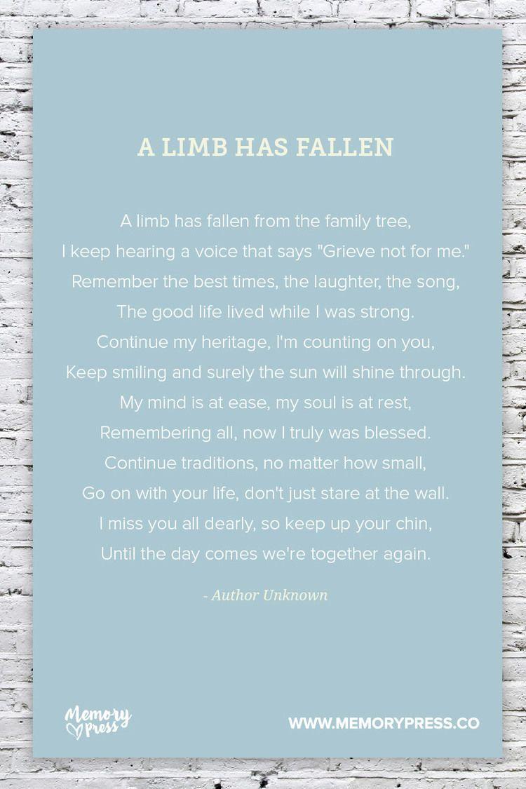 A Limb has Fallen, a Collection of Non-Religious Funeral Poems ...