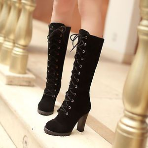 Womens high heel lace up boots