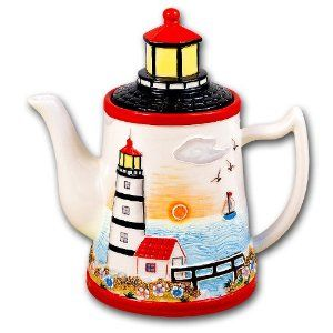 Lighthouse Nautical Teapot Tea Pot Coffee Kitchen Decor