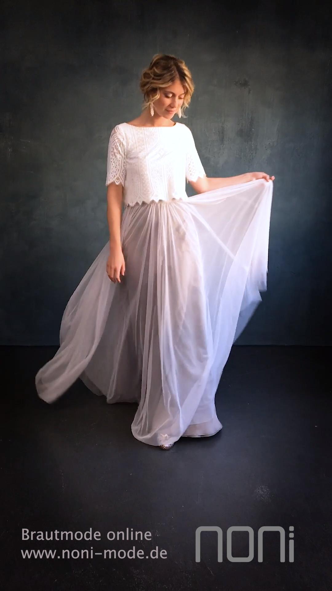 Boho Brautkleid in zwei Teilen, Spitze Brautoberteil und Tüllrock