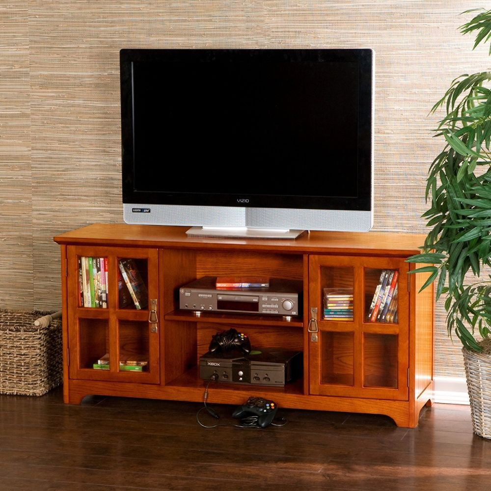 Highland Mission Oak Media Console Center Table TV Stand W Storage Cabinets  #UptonHome #ContemporaryMission #TvStand #Storage #Cabinets #Furniture