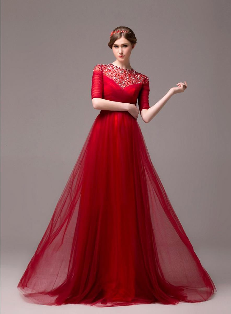 Formal Long Evening Dress Half Sleeve Beading Evening / Party ...