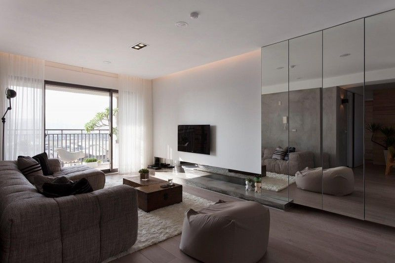 Contemporary Apartment In Taiwan By Fertility Design Minimalist Living Room Minimalist Apartment Interior Apartment Interior Design