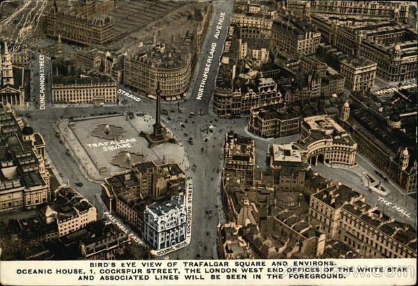 Vintage post card of Trafalgar Square London