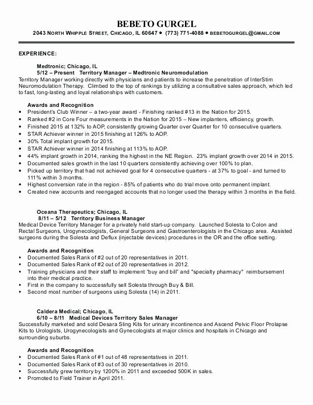 Awesome Territory Sales Manager Resume Territory Sales