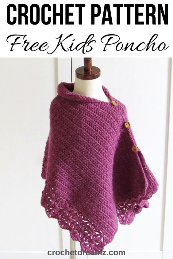 Kid's Crochet Poncho From a Simple Rectangle #crochetponchokids Now you can make a mommy and me poncho. You will find both the kids and Woman's size free crochet pattern on my blog. This is a simple and easy poncho made from a rectangle. Pattern includes toddler and children's sizes. Woman's size is on a separate blogpost. #crochetponcho, #crochetponchoforkids, #crochetponchofreepattern, #crochetponchokids, #crochet #crochetponchokids