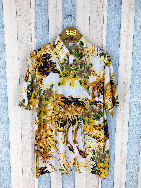 c51a5363e Vintage HAWAIIAN Aloha Shirt Medium 1980s Coconut Tree Yellow Floral Hawaii  Beach Wear Tropical Surfing Rayon