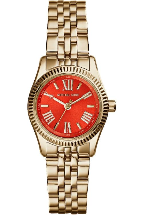 0152933d3473 Michael Kors Mini Lexington Watch - gold bracelet   red dial MK3284 £148