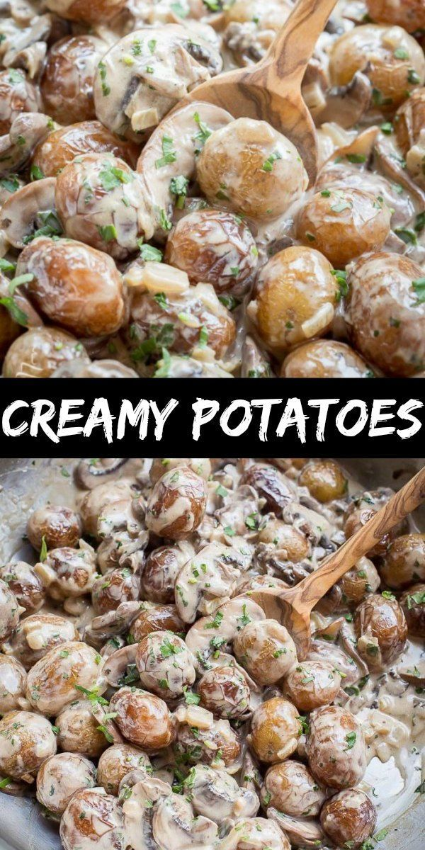 Creamy Mushroom Potatoes with Parmesan – The recipe you need to make for dinner tonight! You'll love these bite-size potatoes, smothered in delicious white Parmesan with garlic sauce!