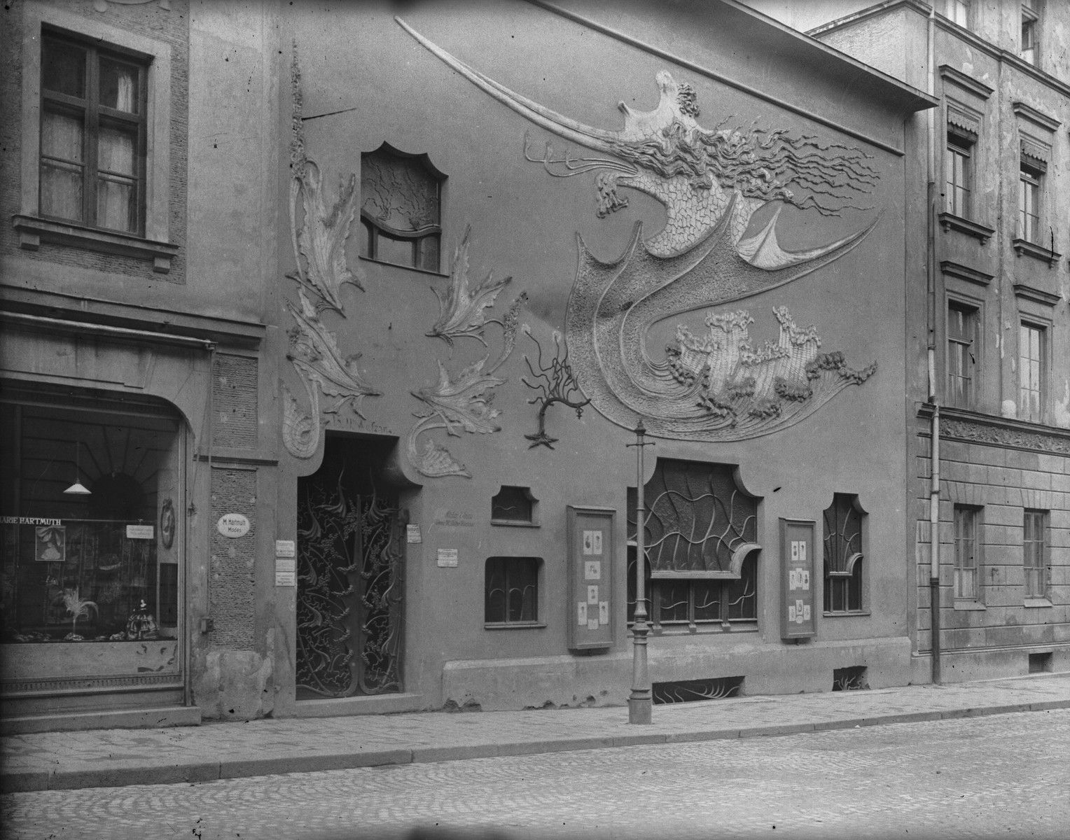 august endell facade of hof atelier munich 1897 art nouveau pinterest. Black Bedroom Furniture Sets. Home Design Ideas