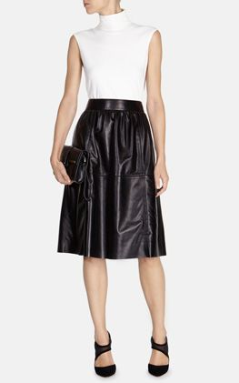 Leather full midi skirt Karen Millen
