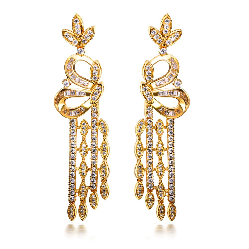 New Look Long Tassel Vintage Drop Earrings 18K Real Gold & Platinum Plated  Silver Pins Clear