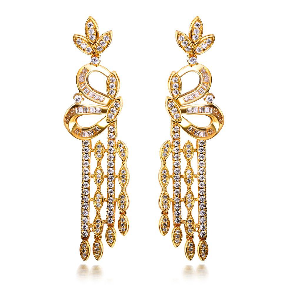 New Look Long Tassel Vintage Drop Earrings 18K Real Gold Platinum Plated Silver Pins Clear