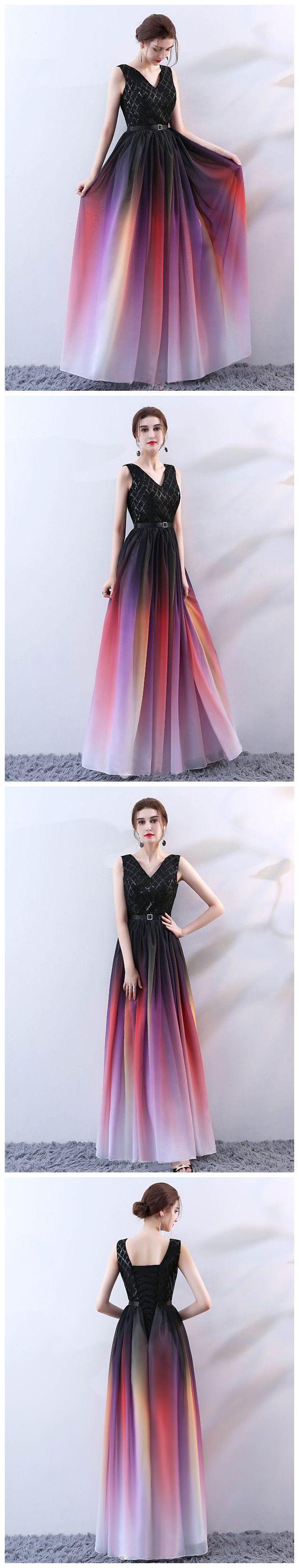 aline v neck ombre prom dresses custom long prom dresses