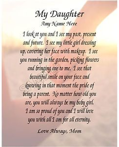 Birthday Poems To My Daughter Details About My Daughter Personalized Art Poem Memory Birthday Gift Daughter Quotes Mother Quotes Mother Daughter Quotes