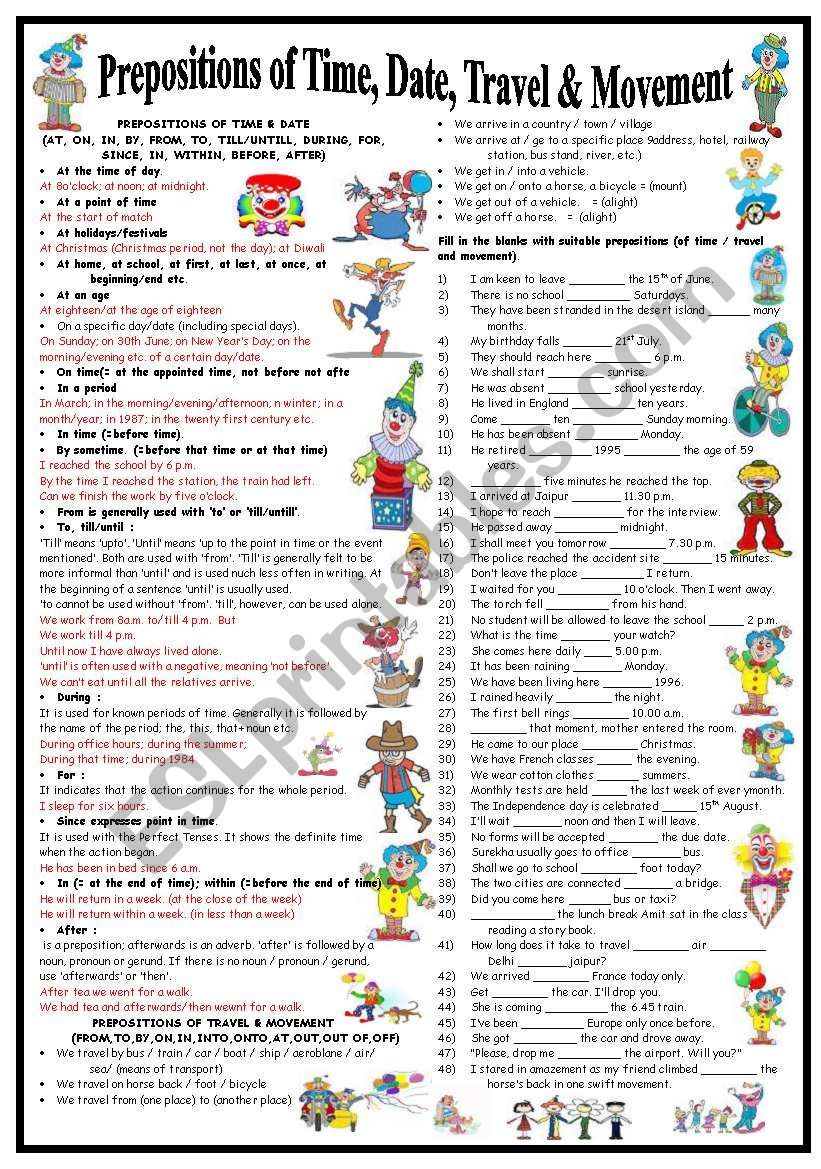 Prepositions of Time, Date, Travel & Movement