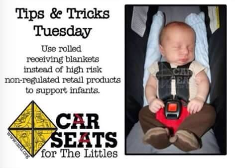 Image result for rolled receiving blanket in car seat