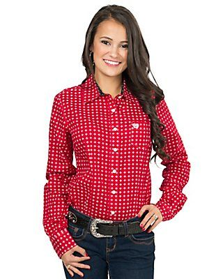 856e844d5153ea Cinch Women's Red with White Diamond Print Long Sleeve Western Shirt ...