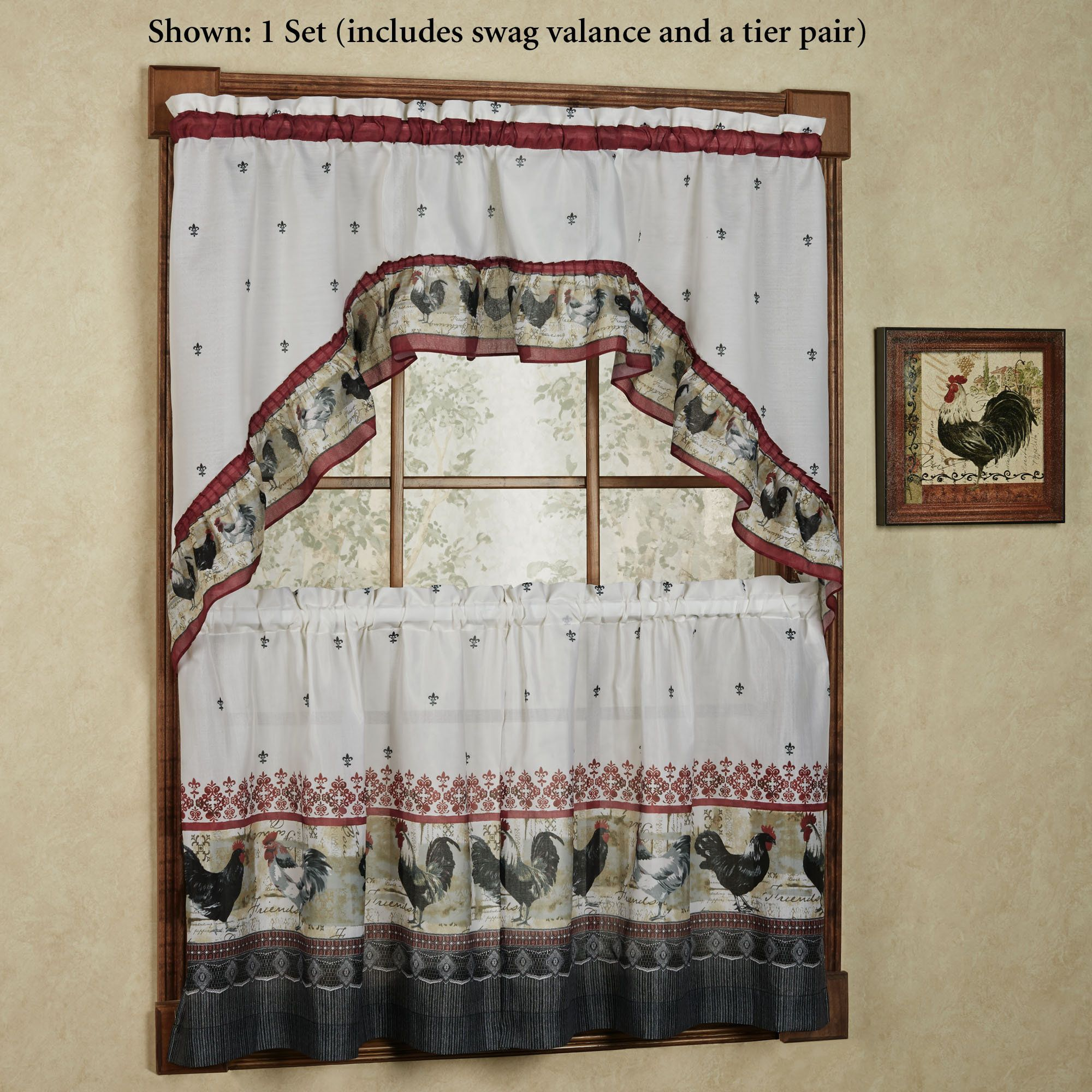 Rooster Kitchen Window Tier And Swag Set