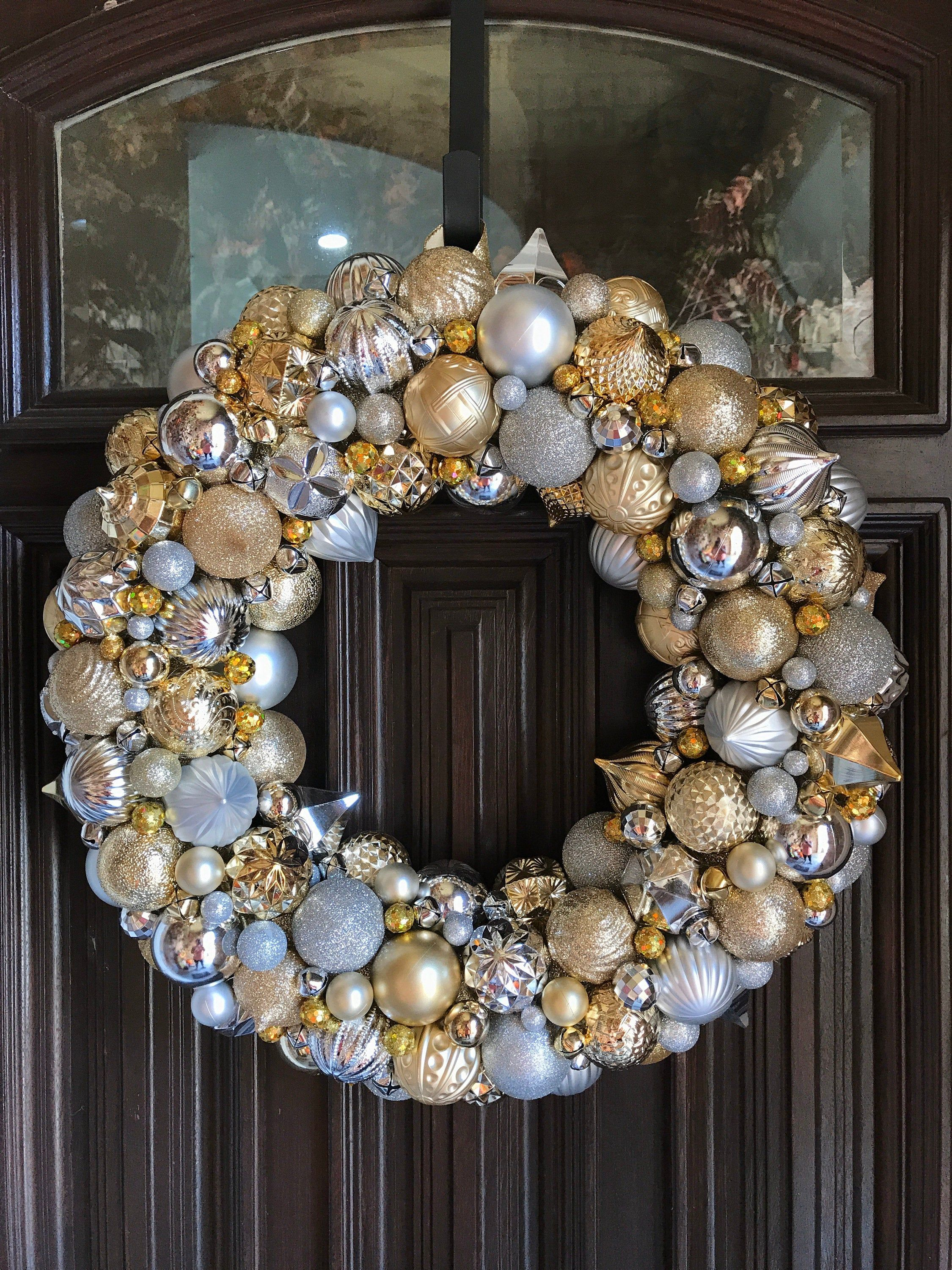 Gorgeous Silver And Gold Ornament Christmas Wreath Bauble Etsy In 2020 Bauble Wreath Christmas Wreaths Gold Christmas Ornaments