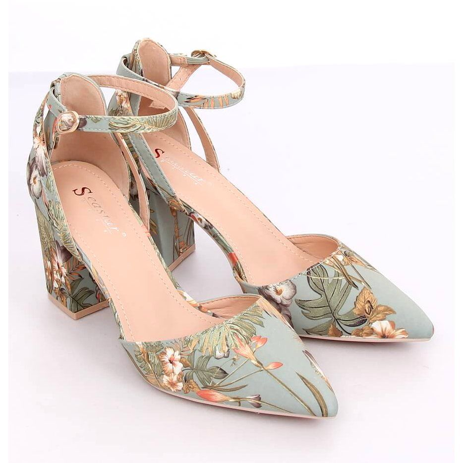 Czolenka Na Slupku W Kwiaty Le076p Green Wielokolorowe Zielone Shoes Sandals Fashion