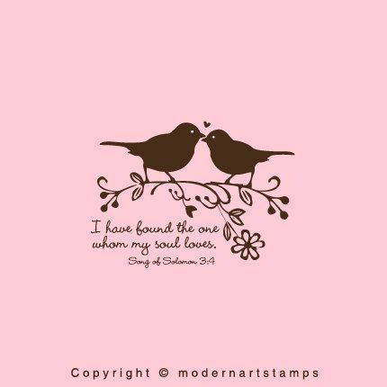 Love Birds Stamp In Wedding I Have Found The One Whom My Soul Loves Verses About Large