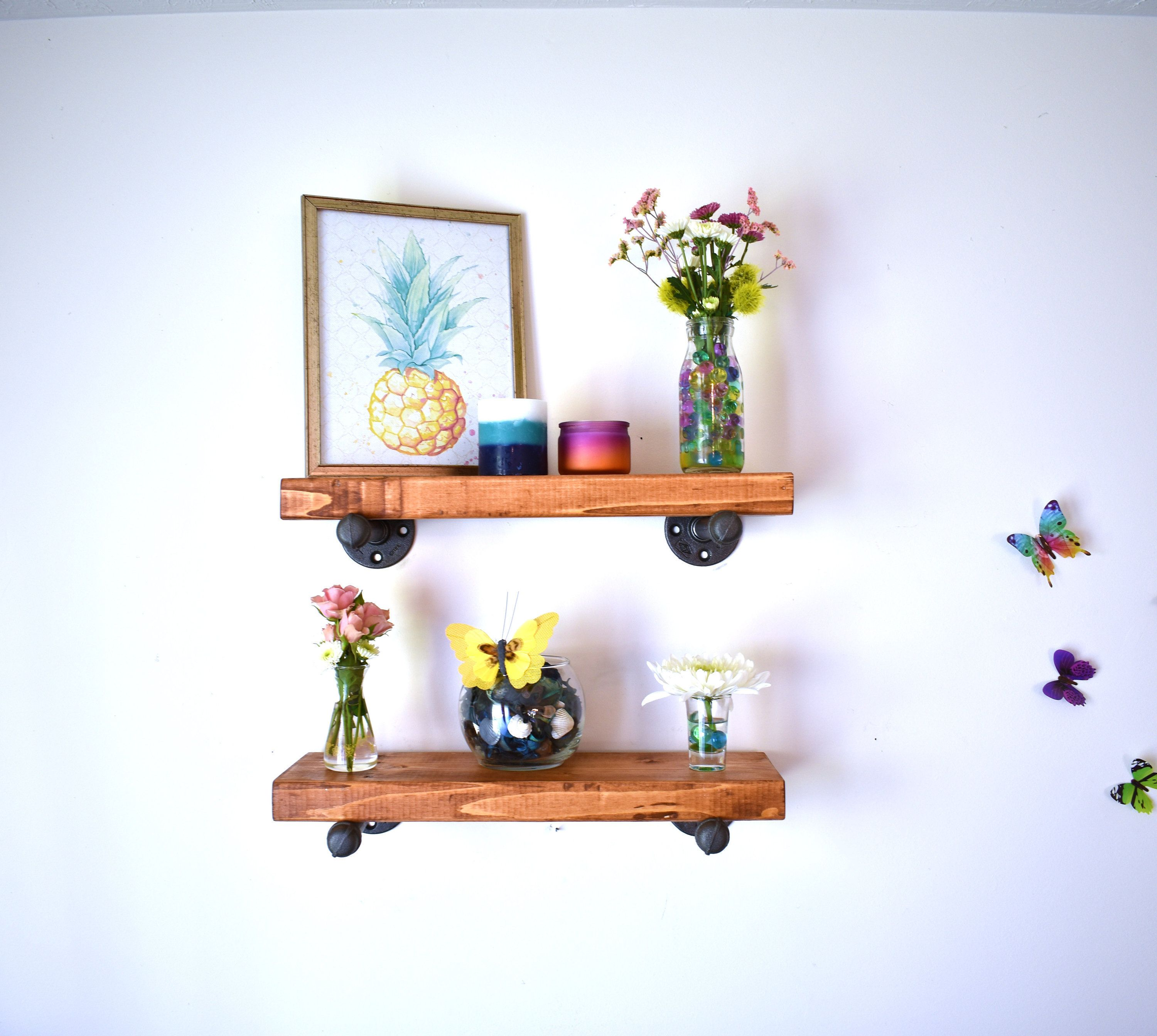 Floating Shelves Rustic Farmhouse Decor Industrial Pipes Wood Shelf Housewarming