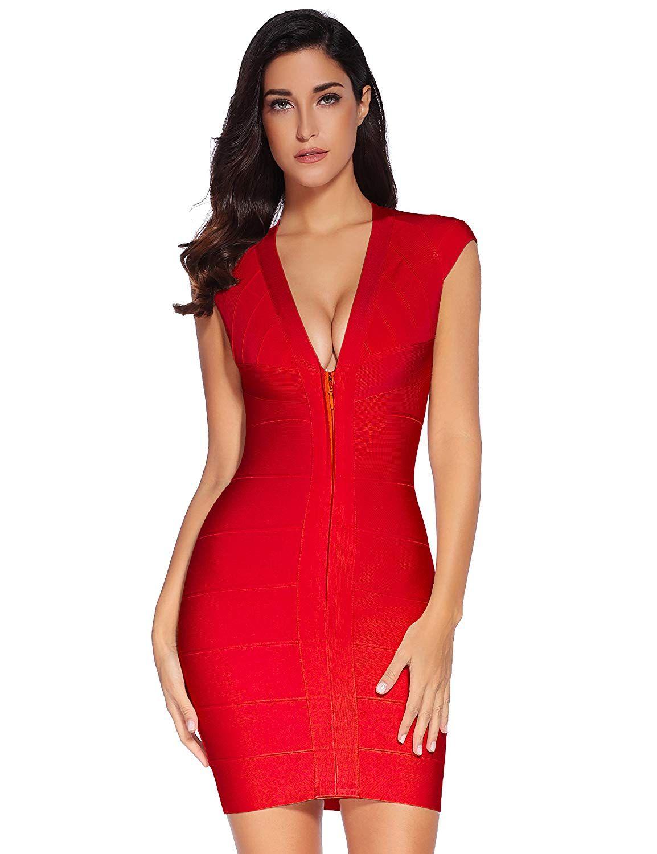 1e7b1a2efb0  fashion  clothing  accessories  womensclothing  dresses. Meilun Women s  V-neck Bandage Party Clubwear Dress Bodycon ...