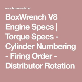 BoxWrench V8 Engine Specs | Torque Specs - Cylinder